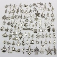 Wholesale tibetan style necklace wholesale - Mix 100 Style Necklace Pendant Charm DIY Silver Jewelry Tibetan Findings Bracelet Necklace Accessory Jewelry Findings Components