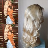 Wholesale Blond Human Hair Lace Wigs - Ombre blond Brazilian human hair lace Wig Human Hair Wigs Glueless Full Lace Wigs Lace Front Wigs For Black Women