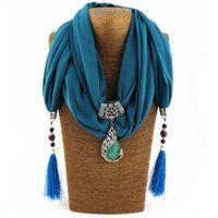 Wholesale scarf animal necklace online - Silk Scarf Necklace Peacock Pendant Neckerchief Scarves Women Printed Silk Muffler New Designer Scarfs Jewelry Bijoux