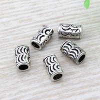 Wholesale jewelry spacer tubes - Hot ! 100pcs 6x10mm Antique silver Zinc Alloy Crescent Tube Spacer Bead DIY Jewelry D15