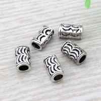 diy boncuklu mücevherat toptan satış-Sıcak ! 100 adet 6x10mm Antik gümüş Çinko Alaşım Crescent Tüp Spacer Boncuk DIY Takı Fit boncuklu bilezik D15