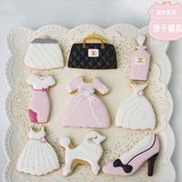 Wholesale High Heel Cookie Cutter - 9pcs Fashion Dress High Heel Shoes Bag Poodle patisserie reposteria Cookie Cutter Fondant Cake Decorating Tools Bakery Biscuit Pastry Mould