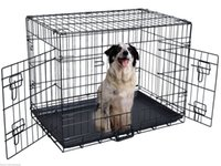 Wholesale folding crates - 42'' 2 Doors Wire Folding Pet Crate Dog Cat Cage Suitcase Kennel Playpen w  Tray