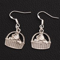 Wholesale Baby 925 Silver Jewelry - Baby Cat Basket Earrings 925 Silver Fish Ear Hook 50pairs lot Dangle Chandelier Jewelry E1155 16x35 mm