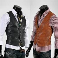 Wholesale Leather Vests For Men - Wholesale-High Quality Fashion Men Suit Vest Men's Pu Leather Vests,Men's Waistcoat,Vest Jacket For Casual Men,Free Shipping