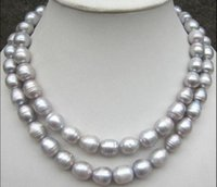 "Wholesale Natural Tahitian Pearls 14k - Details about 35"" AAA 11-13mm natural tahitian silver gray pearl necklace 14K yellow gold clas"