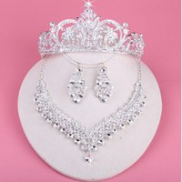 Wholesale Fairy Earrings Studs - 2017 Luxury Drop Rhinestone Wedding Jewelry Set Necklace Crown Tiaras Crown Earrings Headwear Beading Three-Piece Party Bridal Accessories