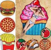 Wholesale strawberry mats for sale - Group buy new Round Polyester Beach Mat Skull Ice Cream Strawberry Smiley Emoji Pineapple Pie Watermelon Beach Bath Towel Yoga Towel wn062