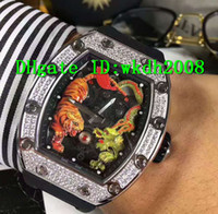 Wholesale Tiger Dragon - Luxury Brand Spline Screws Diamond Case Sapphire Face Tourbillon Automatic Men's Wristwatch Dragon Tiger Limited Edition Mans Watch