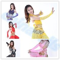 Wholesale Belly Dance Arm Sleeves - bead embroidery belly dance sleeve arm sleeves belly dance gloves cuff Indian Egyptian dance stage Performance costumes
