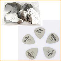 Wholesale Acoustic Guitar Plectrum - 100Pcs Stainless Steel Guitar Picks 1 box case Alice Acoustic Electric Bass Pic Plectrum Mediator Guitarra Musical instrument