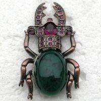 Wholesale Beetle Pin - Wholesale- 12pcs lot Wholesale Fashion Brooch Rhinestone Beetles Pin brooches Jewelry gift C102013