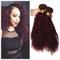 Wholesale Cheap 99j Hair - Peruvian Curly Hair 3Bundles Curly Weave Human Hair Extensions Cheap Products Peruvian Curly Virgin Hair 99J burgundy