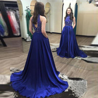 Wholesale High Neck Sparkle Formal Dress - Vestido De Festa Long Evening Dresses A Line Royal Blue Beads Fashion Long Prom Gowns Sparkle Women Formal Evening Gowns