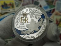 Wholesale Decoration British - British Queen Elizabeth II 90th Anniversary Coin Canada Maple Leaf Birthday Memorial Silver Plated Coins Color Collection Foreign Currency