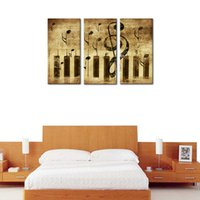 Wholesale musical paintings art online - 3 Panels Canvas Wall Art Music Score Picture Prints Musical Instruments Canvas Painting Modern Artwork with Wooden Framed for Home Decor
