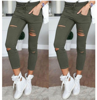 Wholesale Tight Army Pant - Female Trousers Womens Newest Style Slim Stretch Trousers Pants Army Green Tights Pants free shipping DropShipping