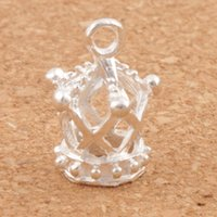 Wholesale Crown Charms 3d - Silver Plated Hollow 3D Imperial Crown Charms 80pcs lot 13X17mm Pendants Jewelry Findings & Components Jewelry DIY L392