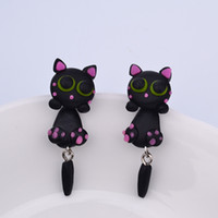 Wholesale Mother Pearl Handmade Jewelry - 3D Handmade Polymer Clay Lovely Cats Stud Earring For Women Girl Animal Earrings Jewelry ER713