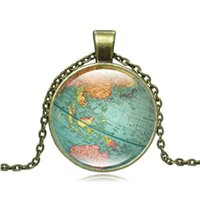 Vintage World Map Glass Cabochon Collier Pendentif Collier Collier Femme Femme Pendentif Bijoux