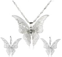 Wholesale Hollow Point Necklace - 925 Silver Plated Hollow Out Pointed Butterfly Jewelry Sets Multilayer Butterfly Pendant Necklaces Earrings Ladies Fashion Jewelry