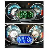 Automatique HOT LED allumé Digital Car Clock Thermomètre Auto Dual Temperature Gauge Voltmeter Testeur de tension DC 12-24V