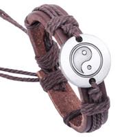 Wholesale Yin Yang Wholesale - Newest Fashion Rope Leather Bracelets Handmade Taoist Tai Chi Yin & Yang Surfing Bangles Adjustable Personality Lover Jewelry BY DHL 161979