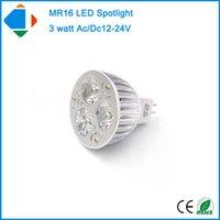 Wholesale Led Mr16 Dc 3w - 5X ac dc 12- 24 volt spotlights MR16 3*1W epsitar high power 3 watts aluminum 12 volt led spotlights natural white bulb lamp
