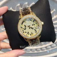 Wholesale Big Women Hot - 2017 Fashion Women sexy Wristwatch Gold color Leopard watch Stainless steel Lady Watches Big Dial brand watch hot sale table free shipping