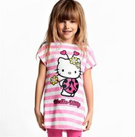 Wholesale Girls Clearance - Wholesale- New 2017 Baby Kids Hello Kitty Clothing Set Girl Suit 2Pcs T-Shirt+Pants Girls Summer Sets Clearance 15E