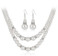 doppel-perlen-schmuck-set großhandel-Lady Graceful Perlen Neckace und Ohrringe legen Double Layer Choker Fisch Haken Ohr Dangles Schmuck Geschenk