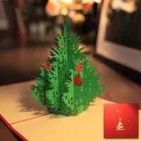 Wholesale Tree Paper Laser Cut - Wholesale-Merry Christmas Tree Greeting cards Vintage 3D laser cut pop up paper handmade greeting cards gifts souvenirs postcard L20