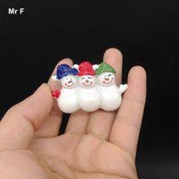 Wholesale resin flatback christmas - Small Kawaii Flatback DIY Christmas Three Hat Snowman Xmas Resin Decoration Model Toy Kid Perceive Learning Game