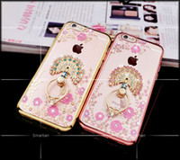 Wholesale Transparent Rhinestone Rings - Luxury Bling Diamond Ring Holder Phone Case Crystal TPU Flower Peacock Rhinestone Cover for Iphone 6 6s 6plus iphone 7 7 plus with Kickstand