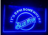 ingrosso segni al neon blu della luna della luna-b-102 blue moon beer bar pub club 3d segni LED Luce al neon Iscriviti home decor negozio di artigianato