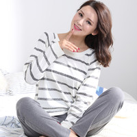 Wholesale Carton Sexy - Wholesale- Pajamas Sets Women Striped 100% Cotton Carton Fashion Women Long Sleeve Sleepwear Suit 2 piece Sexy Spring Home Lounge Gift