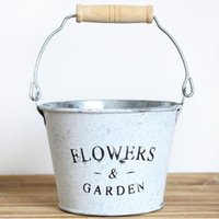 Wholesale Artificial Flowers Wooden - D11XH8CM Vintage Style Planter Round Iron Buckets Succulent Flower Pots Tin Pails with Wooden Handle ZA4827
