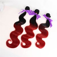 Wholesale Synthetic Body Wave Weave - New fashion 3 bundles Wave Hair Weft color 1b Red synthetic Hair Weave Extension for full head free shipping
