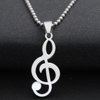 Wholesale Music Musicians - Stainless Steel Music Note Necklace Jewelry Trendy High Quality Silver Color Luxury Choker Jewelry For Musicians Gift