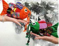 Wholesale Cute Denim Bags - Fashion baby kids Fish money bag Animals children's school bag Cute Coin Purse Chinese National Characteristics