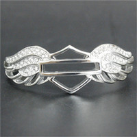 Wholesale Stainless Steel Bikers Chain - 1pc Support Dropship New Crystal Wings Motorcycles Bracelet 316L Stainless Steel Hot Selling Biker Style Angle Wings Bracelet