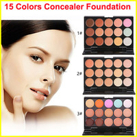 Wholesale Mini Cream - Professional 15 Colors Concealer Foundation Contour Face Cream mini Makeup Palette Tool for Salon Party Wedding Daily DHL free shipping