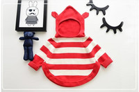 Wholesale Baby Long Sleeve Stripe Top - New Baby Sweater Outwear Kids Stripe Sweater Jackets Girl Winter Knitting Hoodies Long Sleeve Top Red black 2 Colors