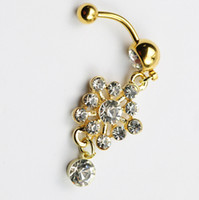 Wholesale Flower Navel Rings - clear with gold plated color 02-0009 belly ring nice flower style belly ring with piercing body jewlery navel belly ring body jewelry