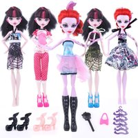 Wholesale Cheapest Hangers - Cheapest! 17items Monster Hight Doll Accessories Suit Dress+Shoes+Hangers+bag Fashion Clothes for Original Monster Hight Dolls