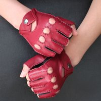 Wholesale Thin Half Finger Gloves - Wholesale- Fashion Women Semi-Finger Gloves Spring And Summer Thin Fitness Genuine Leather Driving Half Finger Gloves Handmade Sewing