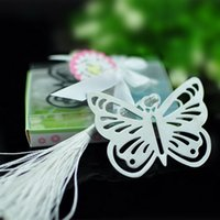 Wholesale Butterfly Box Wedding - Butterfly Bookmarks Metal With Tassels Stationery Gifts Wedding Favors Stainless Steel Bookmarks Gift Box Packing DHL Free Shipping