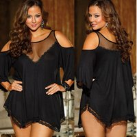 Wholesale Black Dress Size 22 24 - Sexy Lingerie Lady Underwear Lace Dress Babydoll Sleepwear Plus Size 20 22 24 26