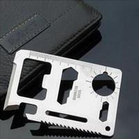 11 faca de bolso ferramenta venda por atacado-Multi Ferramentas 11 em 1 Multifuncional Ao Ar Livre Cartão de ferramenta de sobrevivência de Caça Camping Bolso cartão de crédito Militar faca 100 pcs