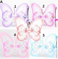 Wholesale party ball props - Children Girls Butterfly cosplay props sets Wings hairband Fairy stick Kids Holloween Christmas Festivals Costume Ball Angel Party B11